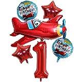 DIWULI, großes Flugzeug Luftballon Set, XXL Flugzeug-Ballon, XXL Zahl 4 Zahlen-Ballon rot, Stern-Ballon, Happy Birthday Folien-Ballons, 4. Kinder-Geburtstag Junge, Motto-Party, Dekoration, Flieger