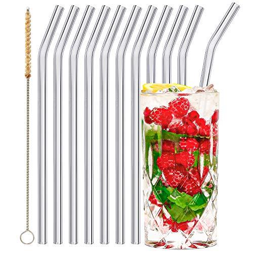 stråwline EINFÜHRUNGSANGEBOT Glas-Strohhalme 10 Stück 23 cm, wiederverwertbar + Reinigungsbürste (vegan) aus Agave - ideal für Cocktails, Longdrinks & Säfte