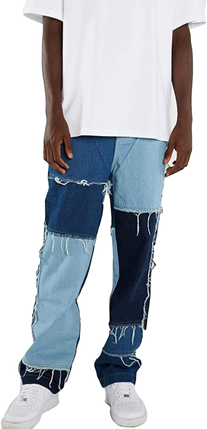 XBTCLXEBCO Mens Patchwork Jeans Ripped Distressed Destroyed Slim Fit Straight Leg Denim Jeans