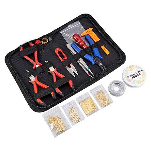 Floridivy Sieraden maken Supplies Kit Tangen Schaar, kraalwerktuigen kit, draad 304 roestvrijstalen pincet Sluiting Koord Wrap gereedschap