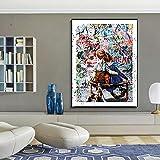 ganlanshu Cartel de Arte Abstracto de Graffiti para niños Fotos Dulce Abrazo HD Lienzo Pintura,Pintura sin Marco,30x41cm