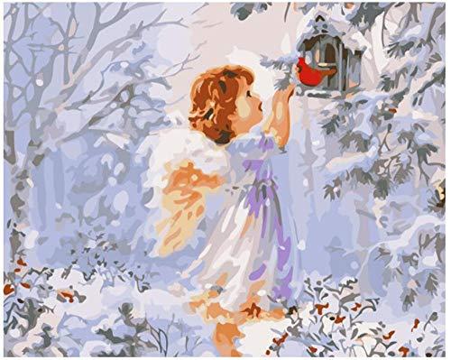 Malen Nach Zahlen Katze Vogelnest Kleiner Engel Erwachsene, Kinder, Anfänger, Selber Auf Leinwand Malen Nach Zahlen Zur Heimdekoration,Inklusive Pinsel Und Acrylfarben,40X50 cm Ohne Rahmen
