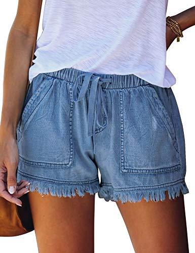 Luyeess Women Casual Drawstring Elastic Waist Denim Shorts Raw Hem Pocketed Jean Dark Blue Size Medium