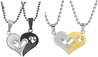 4 قطع الفولاذ المقاوم للصدأ الرجال إمرأة زوجين قلادة الحب القلب تشيكوسلوفاكيا لغز مطابقة