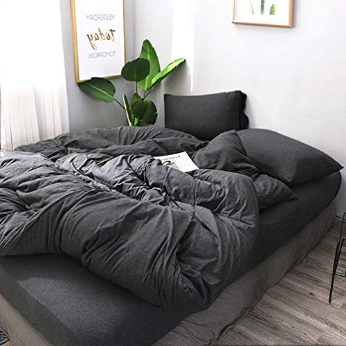 BESTOUCH Jersey Knit Duvet Cover Set Queen T-Shirt Cotton Super Soft Comfortable 3 Pieces Home Bedding Set 1 Duvet Cover and 2 Pillowcases Hethered Charcoal Grey Queen