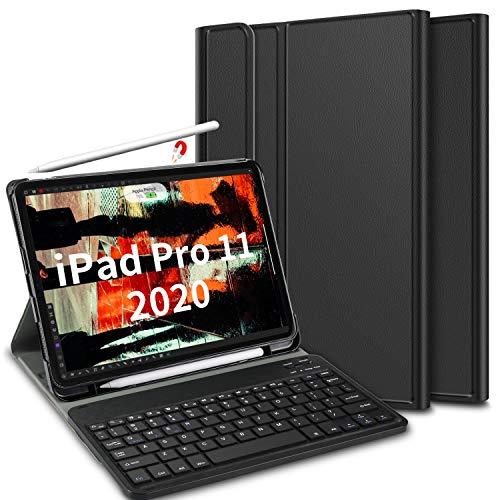 ELTD Teclado Estuche para iPad Pro 11,[Español, con la tecla (ñ)], Protectora Cover Funda con Desmontable Wireless Teclado para iPad Pro 11 2020, (Negro)