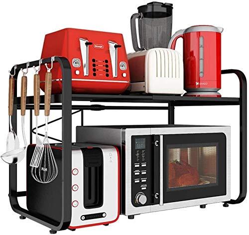 Multifunción Metálica del horno microondas del estante retráctil piso cocina de múltiples capas horno de carro de almacenamiento de almacenamiento en rack de acero inoxidable LINGZHIGAN