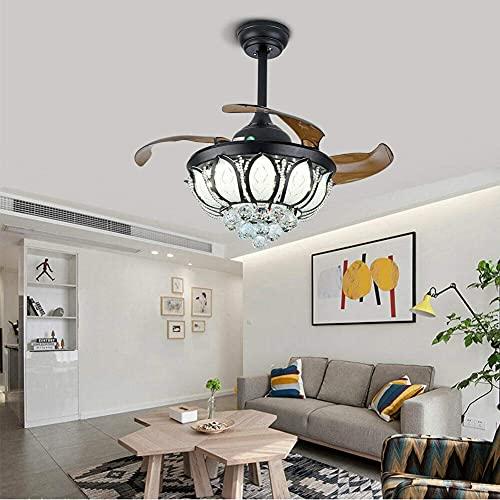 Ventilador de techo invisible de 36 pulgadas con luz LED de cristal, lámpara de araña con mando a distancia para salón