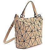 Tikea Sac bandoulière - Grand sac à main géométrique sac à bandoulière mode en liège naturel, sacoche convertible réglable pour femmes filles dames, M