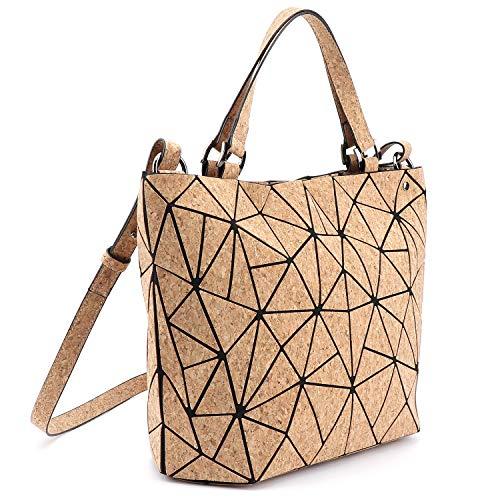 Tikea Umhängetasche Fashion Geometrische Leuchtende Henkeltasche für Damen Kunstleder Damenhandtasche Luminous Holographische Tasche mit Top-Griff Kork M