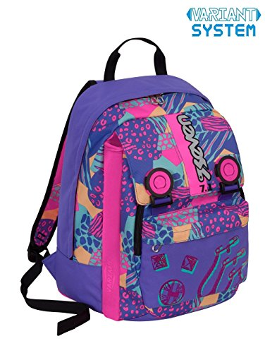 SEVEN - Mochila escolarextensible Swag Girl con detalles reflectantes, violeta y rosa, 32l