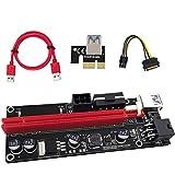 ELIATER PCI-E 1X to 16X 延長ケーブル グラフィックス拡張、GPUマイニング搭載ライザーアダプターカード用、60cm USB 3.0ケーブル、4つの固体コンデンサ、2つの6PINおよびMolex 3電源オプション (Bitcoin-Litecoin-ETHコイン採掘用)