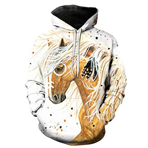 Sweatshirt Pferd Muster 3D Gedruckt Pullover Lose Langarm Hoodie Gr. S, 4169
