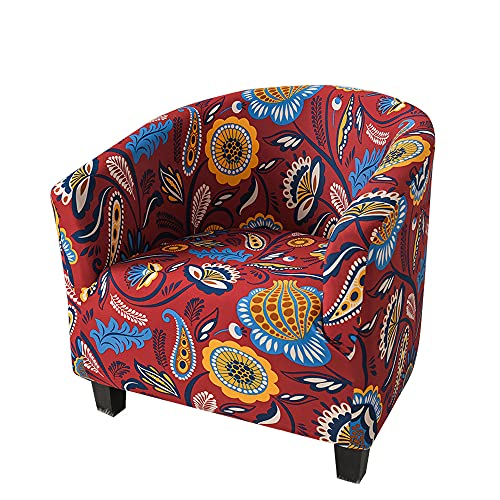 Highdi Stretch Tub Chair Slipcover Club Armchair Sofa Cover Vintage Floral Print Universal Removable Washable Furniture Protector Spandex Couch Covers for Living Room Cafe (Red Paisley)