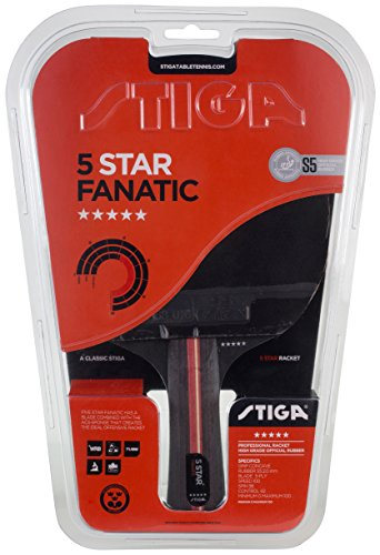Stiga 5-Star Fanatic, Concave Tabletennis Racket, Black/Red, One Size
