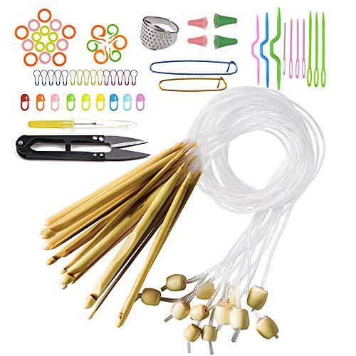 Nsiwem Agujas Ganchillo de Bambú 12 Piezas Agujas de Crochet Agujas de Tejer Ganchos de Ganchillo Agujas de Ganchillo Alfombras de bambu Kit Ganchillo 3-10mm con Accesorios de tejer