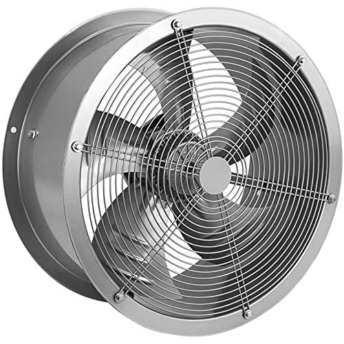PrimeMatik - Extractor de Aire de Tubo de 400 mm para ventilación Industrial 1360 RPM Redondo 470x470x210 mm Plateado