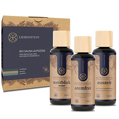 """Liebenstein® BIO Saunaaufguss SET """"Wohlfühl-Trio"""" [3x100ml Sauna Aufgussmittel] mit 100% naturreinen Bio Ölen - regional und nachhaltig - Schwarzwald Sauna Set für ein intensives Dufterlebnis"""