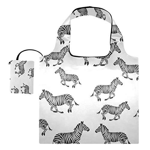Bolsas de compras reutilizables – Bolsas de tela reutilizables de cebras galopantes caóticas grandes, lavables a máquina, reutilizables, con bolsa