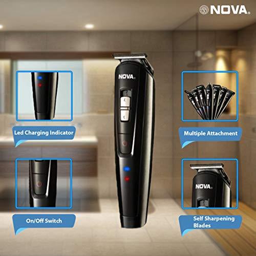 Nova NG 1151 All in One 100% Waterproof Corded n Cordless: 60 Minutes Runtime Grooming Kit For Men (Black)