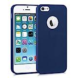 kwmobile Coque Apple iPhone SE / 5 / 5S - Coque pour Apple iPhone SE / 5 / 5S - Housse de téléphone en silicone bleu foncé mat