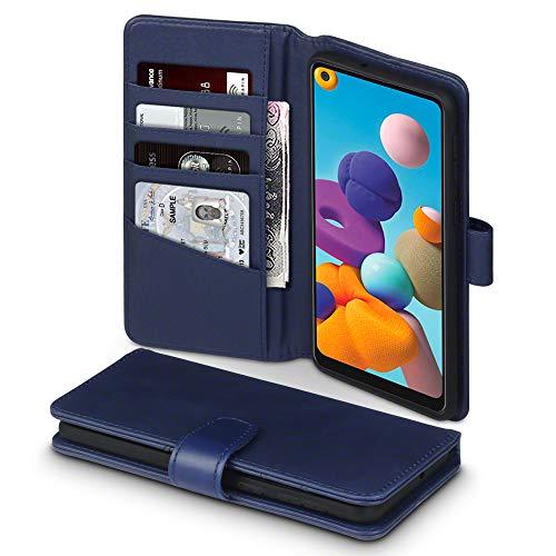 TERRAPIN, Kompatibel mit Samsung Galaxy A21 Hülle, [ECHT Leder] Brieftasche Hülle Tasche mit Standfunktion Kartenfächer & Bargeld - Blau