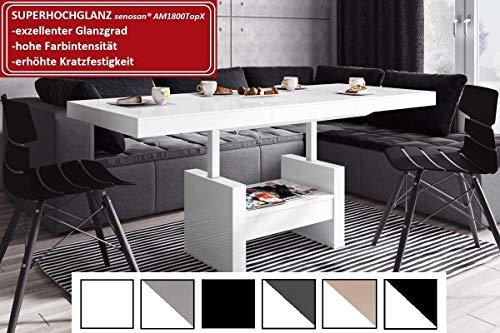 HU Design Couchtisch HLU-111 Hochglanz/MATT Schublade höhenverstellbar ausziehbar (Weiß Hochglanz)
