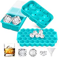 UOON Ice Cube Trays (Set of 3), Easy-Release Silicone and Flexible Ice Trays with Spill-Resistant Removable Lid, Ice...