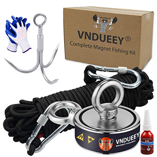 Complete Magnet Fishing Kit, Fishing Magnets 760 LBS Pulling-Includes Grappling Hook, Heavy Duty 65FT Rope, Gloves & Locking Carabiner,Threadlocker - 2.36inch Diameter