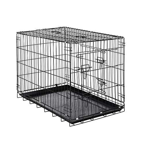 Zelsius Transportkäfig | Hundebox | Hundekäfig | Drahtkäfig für Hund Katze klein bis groß | S - XXL | mit 2 Türen | faltbar (L - 91 x 60 x 66 cm)