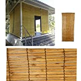 Bamboo Curtain for Balcony, Window ,Terrace, Roll up Blind ,Chicks Shades Plain Yellow
