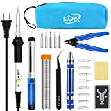 LDK Full Set 60W Soldering Iron Kit, Adjustable Temperature with 5pcs Different Tips, Desoldering Pump, Stand, anti-static Tweezers, Solder Tube, Screwdriver, Cutter and Carry Bag for Repaired Usage