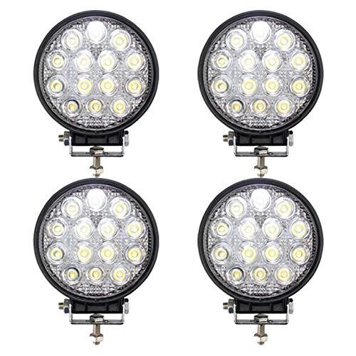 BRIGHTUM 42W 4.5inch LED Offroad Arbeitsscheinwerfer weiß 12V 24V 3990 Lumen Runde Reflektor worklight Scheinwerfer Arbeitslicht SUV UTV ATV Arbeitslampe Traktor Bagger LKW KFZ (4 Stück)