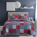 Jessy Home Red Blue Plaid Quilt King Size Patchwork Bedspread Country Quilt Blue White Plaid Bedspread Reversible Plaid Printed Quilt Mens Lightweight Coverlet Set Plaid Quilts+2 Pillow Shams