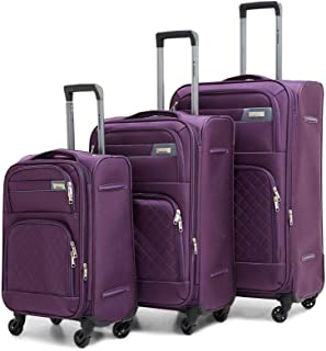 Sonada Soft Trolley with PVC Cover Set of 3 Suitcases Purple Color