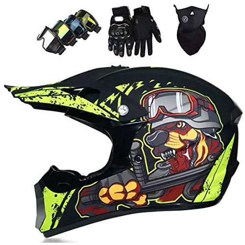 Casco de motocross con gafas/máscaras/guantes, casco integral de cross y todoterreno para motocicleta MTB Enduro Quad Bike
