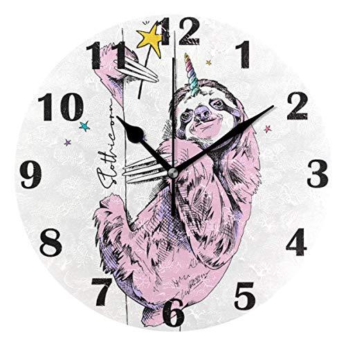 FETEAM Reloj de Pared Divertido Rosa, silencioso, Cuerno de Unicornio, Estrella, Relojes con Pilas, Reloj de Escritorio Vintage, Cuarzo de 10 Pulgadas