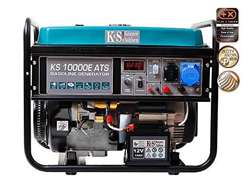 Könner & Söhnen Stromerzeuger KS 10000E ATS - Generator Benzin 18 PS 4-Takt Benzinmotor mit E-Starter, Automatischer Spannungsregler 230V, Notstromautomatik, 8000 Watt, 1x16A, 1x32A Stromgenerator