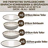 Essgeschirr 6 Personen Set - Trendy Rustikales Design in Beige - Porzellan Schüssel- und Teller Set Modern 24-teilig - Spülmaschinenfestes Tafelservice Set - Geschirrset Vintage von Pure Living - 4
