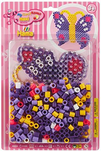Hama - 8908 - Loisirs Créatifs - Blister 250 Perles à Repasser + 1 Plaque - Taille Maxi - Papillon