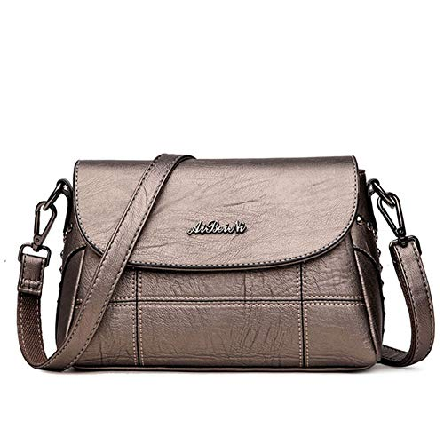 DSJJ Bolso bandolera mujer PU Cuero casual elegante bolso de mujer de mano,bolso mujer bandolera (Color cobre)