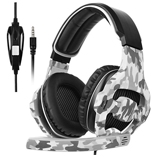 SADES SA810 New Updated Xbox One Headset Over Ear Stereo Gaming Headset Bass Gaming Headphones with Noise Isolation Microphone for New Xbox One PC PS4 Laptop Phone(Camouflage) Headsets