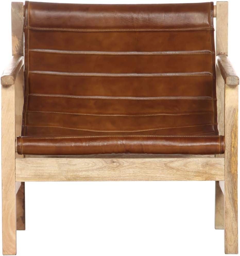 Festnight Fauteuil de Relaxation Fauteuils de Salon de Style Vintage Marron Cuir Véritable 66 x 73 x 70 cm Marron