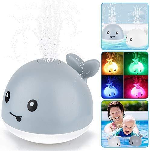 Baby Badespielzeug Wasserspielzeug ,Whale Spray Induction Schwimmende Baden Spielzeug mit Licht und Musik, Pool Wassersprühspielzeug für ab 1 Jahr Baby Kinder Kleinkinder Party Geschenk (Grau)