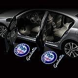 Acptxvh 2Pcs del Portello di Automobile LED Benvenuto proiettore Logo Luce per Alfa Romeo Giulia Romeo Mito Stelvio Brera 147 156 159 GT,B