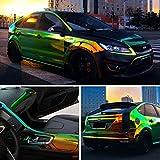 XhuangTech Holographic Rainbow Neo Chrome Car Vinyl Wrap Gloss Air Bubble Free Adhesive Decal Sticker Film Sheet DIY (Black, 53' x 11.8' (135CM x 30CM))