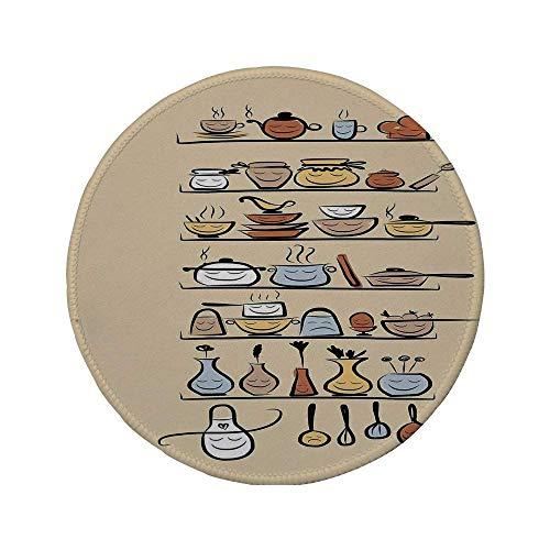 Rutschfeste Gummi-Runde Mauspad Küchendekor Küchengeschirr und Utensilien Geräte Ornamente Gewürzregal Vintage Retro Style Design Braun Creme 7,9 'x 7,9' x3MM