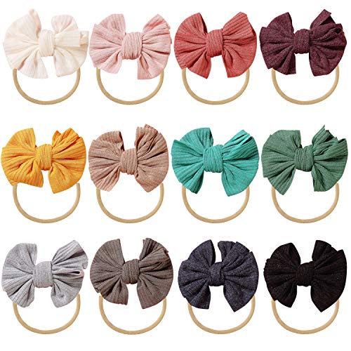 inSowni 12 Pack Soft Stretchy Nylon Bow Headbands Hair Accessories for Baby Girls Toddlers Newborns Infants Kids