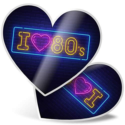 Impresionante 2 pegatinas de corazón de 7,5 cm – I Love 80's Neon Sign Effect Fun calcomanías para portátiles, tabletas, equipaje, libros de chatarra, neveras, regalo genial #21713