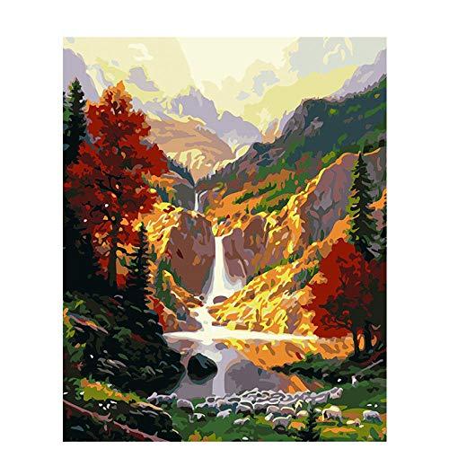 Kits de pintura por números Cascada de otoño Kits de regalo de pintura al óleo de bricolaje Lienzo sin arrugas con pinceles Pigmento acrílico 20 * 16 pulgadas Sin marco